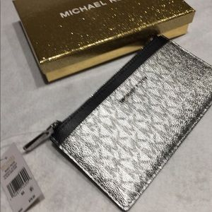 9e283e712c3842 Michael Kors Bags - NWT Michael Kors large slim card case silver/black